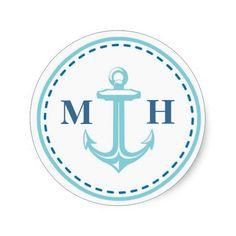 Teal Monogram Nautical Theme Envelope Seals Round Stickers