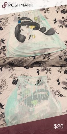 Sheer Disney princess Jasmine Tank top Cute sheer Disney tank top with a cut out back! A great summer tank top or bathing suit cover up! Very soft material! Disney Tops Tank Tops