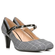 Naturalizer Orianne Shoes (Plaid/Black Shiny) - M Strappy Heels, High Heels, Teacher Shoes, Next Clothes, Work Clothes, Office Shoes, Comfortable Heels, Mary Jane Heels, Naturalizer Shoes