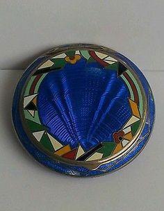 ART DECO SILVER AND ROYAL BLUE GUILLOCHE ENAMEL POWDER COMPACT CIRCA 1930 @vintageclothin.com
