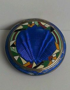 ART DECO SILVER AND ROYAL BLUE GUILLOCHE ENAMEL POWDER COMPACT CIRCA 1930