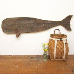 Folk Art Carved Wooden Whale
