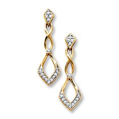 Diamond Earrings 1/6 ct tw Round-cut 10K Yellow Gold