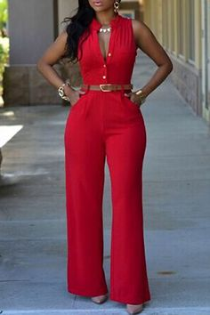 Stylish O Neck Sleeveless Button Design Red Qmilch One-piece Jumpsuits