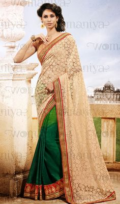 Beige and Green Shade Net Georgette Half N Half Saree Price: Usa Dollar $118, British UK Pound £69, Euro87, Canada CA$126 , Indian Rs6372.