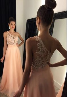Elegant One Shoulder Prom Dresses,Long Prom Dresses With Lace Appliques And Beading,See Though Party Dresses