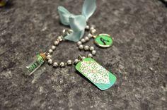 Handmade blue green themed bracelet