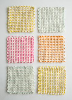 Whits Knits: Pin Loom Coasters - Purl Soho - Knitting Crochet Sewing Embroidery Crafts Patterns and Ideas!