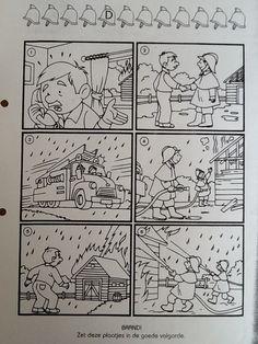 Brandweer: in de juiste volgorde plakken.