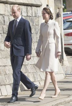 Duchess Kate - The Duke and Duchess of Cambridge joined the Queen and members of the Royal family for Easter Service at St George's Chapel at Windsor Castle.