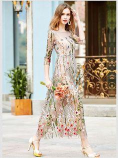 Dresse2017 Gorgeous 4/3 Sleeves Sheer Mesh Embroidery Long Dresses Bohemian Brand Style Vestidos Spaghetti Straps