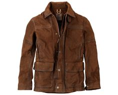 These men's leather barn jackets hit at mid-hip, and we love the longer length. Originally designed for long hours of outdoor work, we've kept the cozy flannel lining but put our spin on this classic leather coat with rugged quad-stitch detailing and snaps at the cuffs and collar for a polished cool-weather look.