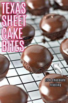 Texas Sheet Cake Bites have all the delicious flavor of the classic dessert in a perfect little bite sized package. Whip up a batch of these little cakes covered in homemade chocolate frosting and enjoy them for an afternoon snack, a party treat, or a fun dessert. Mini Desserts, Bite Size Desserts, Classic Desserts, Just Desserts, Elegant Desserts, Spring Desserts, Banana Pudding Cookies, Cookie Recipes, Dessert Recipes