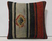 16x16 decorative pillow black pillow case red pillow cover floor throw pillow lake house turkish pillow euro cushion cover wool cushion sham