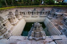 Amazing Kalyani (Temple tank) at Hulikere near Halebidu, Hassan (Karnataka) Dated: ~12th century CE