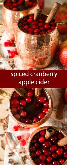 Easy Spiced Cranberry Apple Cider. Simmer this mulled drink on the stove for 10 minutes and serve hot at your next holiday party.  https://ooh.li/a0b51f9 #thermostraditions #sponsored