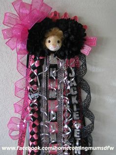 Pink & Black double mum with bow