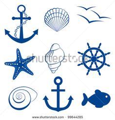 """""""conjunto de Iconos de anclaje, concha, pájaro, estrellas de mar, rueda"""""""