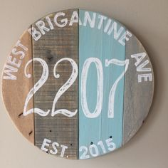 "Round address sign. Custom 11.5"" round Rustic address sign. Reclaimed pallet House number sign. Hand painted Home address. street address by GrayKeyDesigns on Etsy https://www.etsy.com/listing/246896462/round-address-sign-custom-115-round"