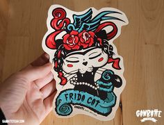 Frida Kahlo Black Cat - Big Sticker Frida Cat Black Kitty - Ganbatte Black Cats