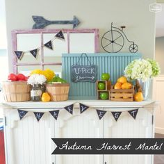 Autumn Harvest Mantel decorating for fall at thehappyhousie