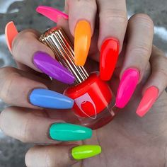 How to Get Stylish Nails for Bright Summer Acrylic Nails, Multicolored Nails, Colorful Nail Art, Best Acrylic Nails, Summer Nails, Spring Nails, Rainbow Nails, Neon Nails, Diy Nails