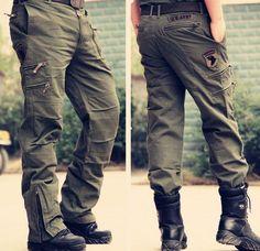 Men's military tactical camo pants overalls cargo loose zip trousers outdoor new