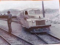 Braden Copper Co. 1946 Ford Panel Railbus at Sewel, Chile Old Steam Train, Train Times, Rail Car, Rolling Stock, Electric Locomotive, Steam Engine, Training Equipment, Train Station, Model Trains