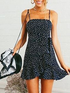 Navy Blue Polka Dot Print Ruffle Hem Cami Mini Dress Choies is part of Mini cami dress - Cute Casual Outfits, Casual Dresses, Navy Blue Dress Casual, Simple Summer Outfits, Look Fashion, Fashion Outfits, Teen Fashion, Dress Fashion, Fashion Ideas