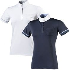The Equi-Theme Cristal Short Sleeve Ladies Competition Polo Shirt is a tailored cut show shirt with high collar and short fitted sleeves with contrasted striped band and stretched edges enhanced with strass.