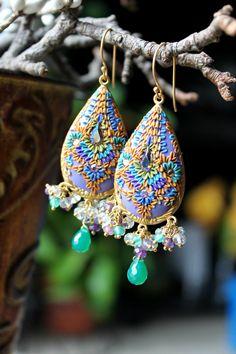 Green Onyx,Prasiolite,shaded Amethyst gemstone cluster gold earrings, brass filigree,clay floral details Vintage crystal - Lavender Meadows via Etsy