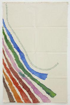 "Giorgio Griffa: CANONE AUREO (finale 354), 2011 Acrylic on canvas 57 x 36"" / 144.8 x 91.4 cm"