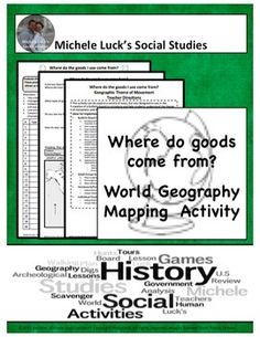 Start off the school year or any Geography or World Cultures unit with this Student Investigation & Bulletin Board Mapping Activity.Students will investigate where products come from in the classroom and outside, evaluating the global product exchange and Geography Movement theme.