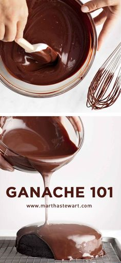 Thanks Martha Stewart! You make ganache accessible and beautiful ! Those three basic steps are all there is to making an irresistible batch of ganache. Köstliche Desserts, Chocolate Desserts, Delicious Desserts, Cake Chocolate, Chocolate Ganache Frosting, Mint Chocolate, Plated Desserts, Chocolate Chips, Chocolate Topping