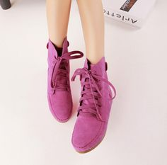 33.60$  Buy now - http://aliff5.shopchina.info/go.php?t=32799656678 - 2017 Spring Fashion Girl Retro Short Boots Martin Boots Faux Suede Candy Color Lace Up Short Boots Flat Shoes Woman Casual Shoes  #bestbuy