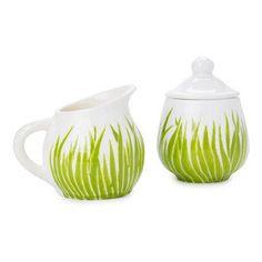 Jessica Howard Ceramics Original green grass field ceramic sugar bowl and creamer set