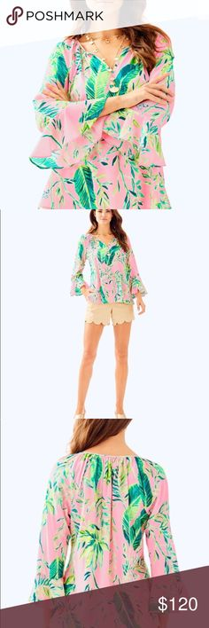 d0b503dcbe116c Lilly Pulitzer Chimpoiserie Willa Flounce Top Brand new with tags No flaws  and never worn Machine