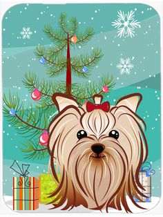 Christmas Tree and Yorkie Yorkishire Terrier Mouse Pad, Hot Pad or Trivet…