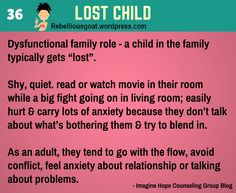 Psychology 36 - Lost Child - Dysfunctional family role that a child in the family typically gets Lost.  @RebelliousGoat
