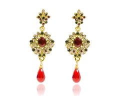STYLISH TRENDY  FOR WOMEN GIRLS FASHIONABLE GOLD N RED COLOR  DROP CZ  EARRINGS #REEMAJEWELS #DropDangle