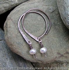 Open Hoops - Nylla - Sterling Silver and Pearls    Rustic open hoops, oxidized, freshwater pearls :)
