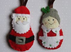 Christmas Ornaments : Mr and Mrs Santa and the elf free shipping