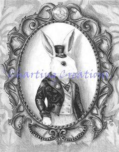 White Rabbit Art Print Alice in Wonderland Art Gothic Art Fairy Tale Art Victorian Art Bunny Art Lewis Carroll Victorian Art, Gothic Art, White Rabbit Meaning, Alice In Wonderland Print, Rabbit Art, Rabbit Hole, Alice Rabbit, Nerd, White Rabbits