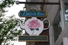 ♔ Tea: The English Rose Authentic British Tea Room, Chattanooga, Tennessee. Every time we visit Chattanooga my husband makes it a point to bring me here! We absolutely love it! Chattanooga Tennessee, Rose Tea, Lounge, English Roses, Street Signs, Shop Signs, Decoration, Tea Time, Tea Party