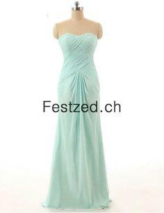 Herzausschnitt Minze A-Linie Lang Chiffon Abendkleider