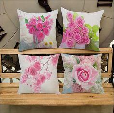 Linen cotton Pink roses printing Cushion cover home-decor-pillow case Home textile capas para almofadas #Affiliate