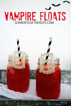 Vampire Floats - just two ingredients and loads of spook appeal! @shakentogether #spooky #halloween