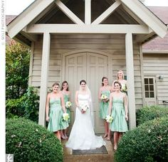 the color of the bridesmaid's dresses Wedding Mint Green, Sage Wedding, Green Bridesmaid Dresses, Wedding Dresses, Rustic Forest Wedding, Celtic Wedding, Wedding Photos, Wedding Stuff, Real Weddings