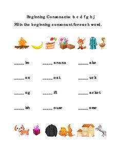 Kindergarten+Reading.+Beginning+Consonants+Write+Fill-in+Letters+B+C+D+F+G+H+J.+Tools+for+Common+Core,+Emergent+Reader.+1+page.+
