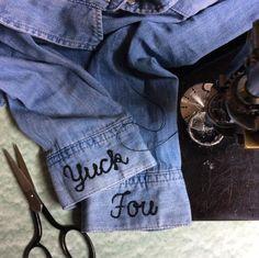 Yuck Fou chainstitch embroidery on denim shirt cuff